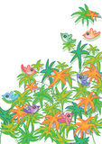 Colorful Leaves Bird Card_eps Stock Image