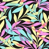 Colorful leaves on a black background. Seamless pattern for your design Stock Photo