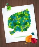 Colorful leaves card concept on super wood Royalty Free Stock Photos