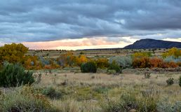 Thick rain clouds in Galisteo New Mexico. Colorful leaves in the fall in Galisteo New Mexico USA royalty free stock image