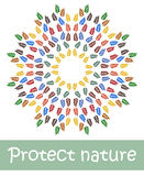 Colorful leaves, protect nature. Vector illustration. Many multi-colored leaves,  protect nature . Vector illustration on white background Stock Photography