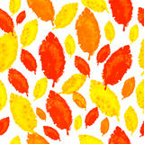 Colorful leaves on a white background, seamless pattern Royalty Free Stock Photos