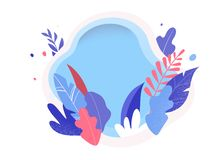 Colorful leaves on white background. Vector illustration, modern flat style royalty free illustration