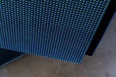 Colorful led light interaction wall. Selective focus Royalty Free Stock Images