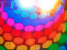 Colorful led screen stage. With spotlights on the top stock photography