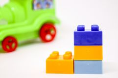 Colorful Lego build look like boots. Lego build look like boots. And put them color swap togerther Stock Photo