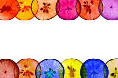 Colorful lemon pieces whit white space Stock Photography