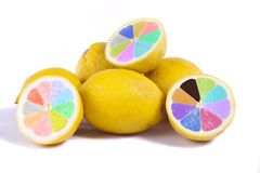 colorful lemons on white stock photos