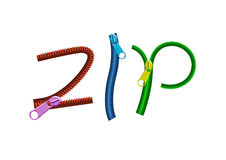 Colorful letter ZIP zippers adjustable Stock Photo