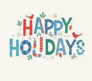 Free Colorful Lettering Happy Holidays With Decorative Seasonal Design Elements. Royalty Free Stock Photos - 159991168