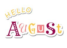 Colorful lettering of Hello August with different letters in violet, pink and yellow in paper cut style Royalty Free Stock Photo