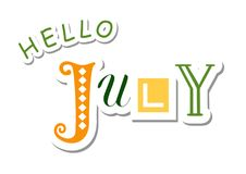 Colorful lettering of Hello July with different letters in green, orange and yellow in paper cut style with shadow. On white background for calendar, sticker Vector Illustration