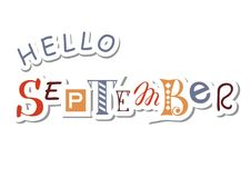 Colorful lettering of Hello September with different letters in brown and gray in paper cut style with shadow Stock Photography
