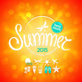 Colorful lettering summer and white icons Royalty Free Stock Image