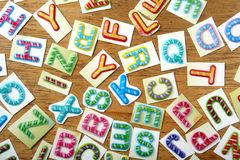 Colorful letters as pattern or texture background Stock Photo