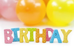 Colorful letters birthday Stock Photography