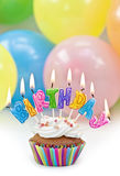 Colorful letters birthday candels Stock Image