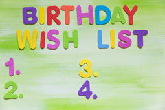 Colorful letters, birthday wish list Stock Image