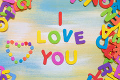 Colorful letters building the text i love you Royalty Free Stock Photography