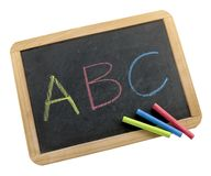 Colorful letters on chalkboard Royalty Free Stock Image