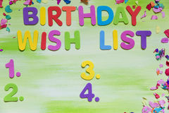 Colorful letters and confetti, birthday wish list Stock Images