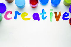 Colorful letters creative. paints and brushes Royalty Free Stock Image