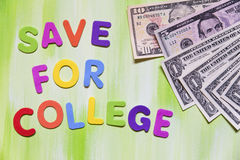 Colorful letters and dollars, save for college Royalty Free Stock Images