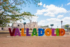 Colorful letters form the sign of Valladolid on a sunny day in Valladolid, Y Royalty Free Stock Images