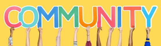 Colorful letters forming the word community stock photography