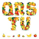 Colorful Letters From Fruit And Berries. Clip Art Stock Image