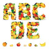 Colorful Letters from Fruit and Berries. Clip Art Stock Images