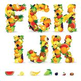 Colorful Letters from Fruit and Berries. Clip Art Stock Photography