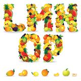 Colorful Letters from Fruit and Berries. Clip Art Royalty Free Stock Photo