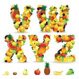 Colorful Letters from Fruit and Berries. Clip Art Stock Photo