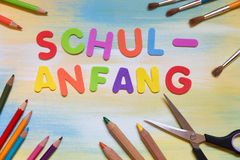Colorful letters, german word, concept school beginning Royalty Free Stock Photo