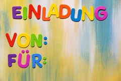 Colorful letters, german word, invitation Stock Image