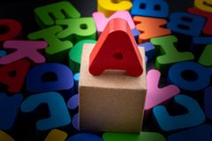 Colorful Letters made of wood stock photo
