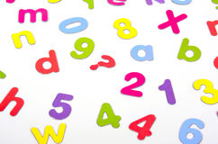 Colorful letters numbers Stock Photography
