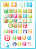 Colorful letters and numbers. In white background Royalty Free Stock Photography