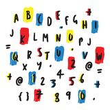 Colorful Letters and Numbers Hand Drawn Design vector illustration