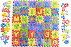 Colorful letters numbers toys Royalty Free Stock Images