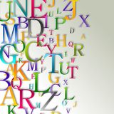 Alphabet abstract background. Colorful letters over grey shiny background Stock Photos