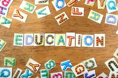 Colorful letters spelled as education Stock Photography