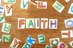 Colorful letters spelled as faith Stock Photography