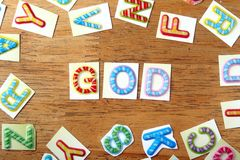 Colorful letters spelled as God Stock Photo
