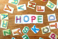 Colorful letters spelled as hope Stock Image