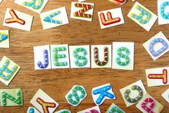 Colorful letters spelled as jesus Royalty Free Stock Photo