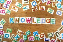 Colorful letters spelled as knowledge Stock Image