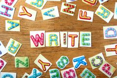 Colorful letters spelled as write Royalty Free Stock Photos