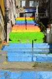 Colorful LGBTQ stairs in istanbul Turkey. Street art in Cihangir Istanbul in Turkey with bright colorful stairs representing the LGBTQ rainbow colors stock photo